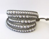 Chan Luu Inspired Silver Grey Pearl Beaded Wrap Bracelet on Grey Leather