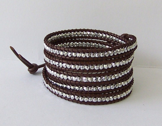 Chan Luu Inspired Wrap Bracelet with Silver Nuggets on Brown Leather