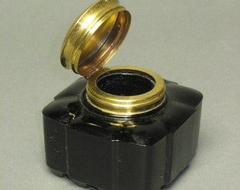 Cool Handblown into mold -- 1920s GREEN GLASS INKWELL with brass top