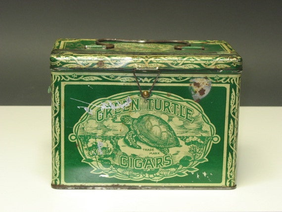 1920s Antique Green Turtle CIGARS Advertising Lunch Box Tin with Metal Handle and WIRE Latch -- GREAT