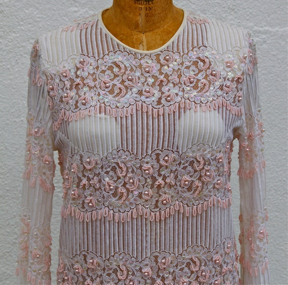 Vintage Formal '60s Wedding/Special Occasion Beaded Lace Dress
