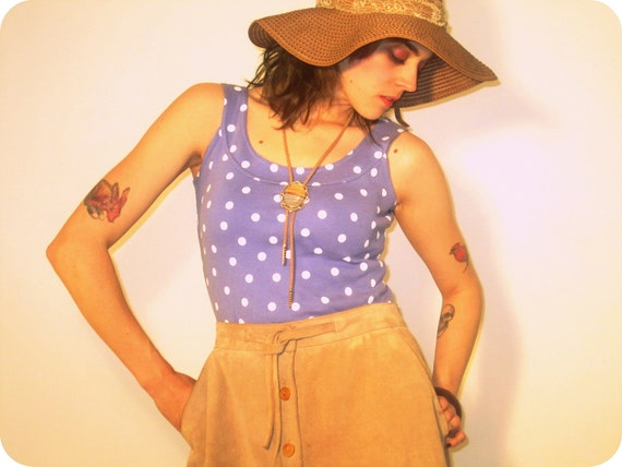 SALE /// 90s Pastel POLKA DOT scoop-neck tank