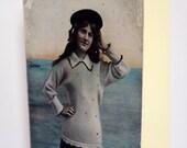 Blank Card  - The Miss Phyllis Dare - Nostalgic Nautical 20's Woman Seaside, Vintage image, hand embellished card, OOAK, handmade, custom
