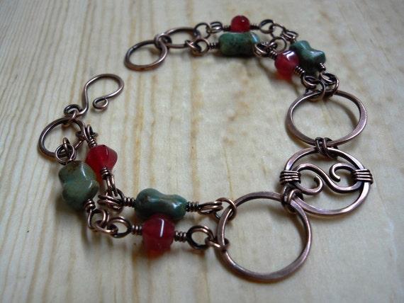 Celtic Springtime Scroll and Hoop Bracelet - Celtic Jewelry