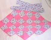 Handmade Coral Pink and Green Print Half Apron