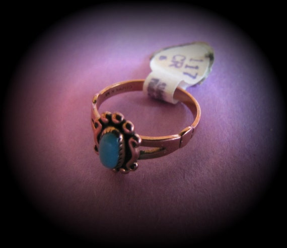 Vintage Retro 1970's Turquoise Solid Copper Ring Size 6 NWT Jewellery Jewelry