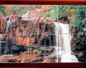 Ceramic tile waterfall mural