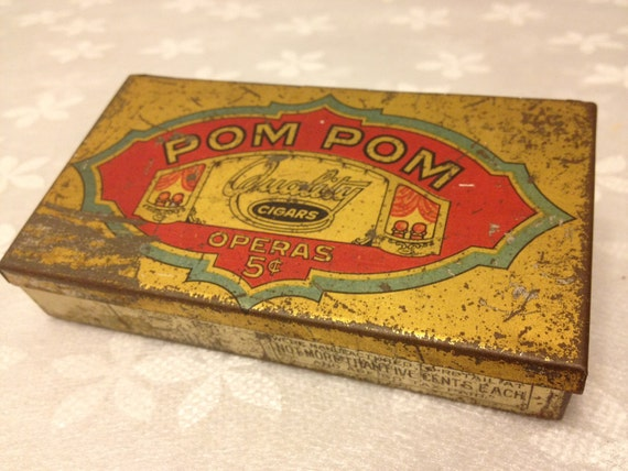 Vintage Tin Cigar Box with Nice Lithography Pom Pom by Swisher & Sons