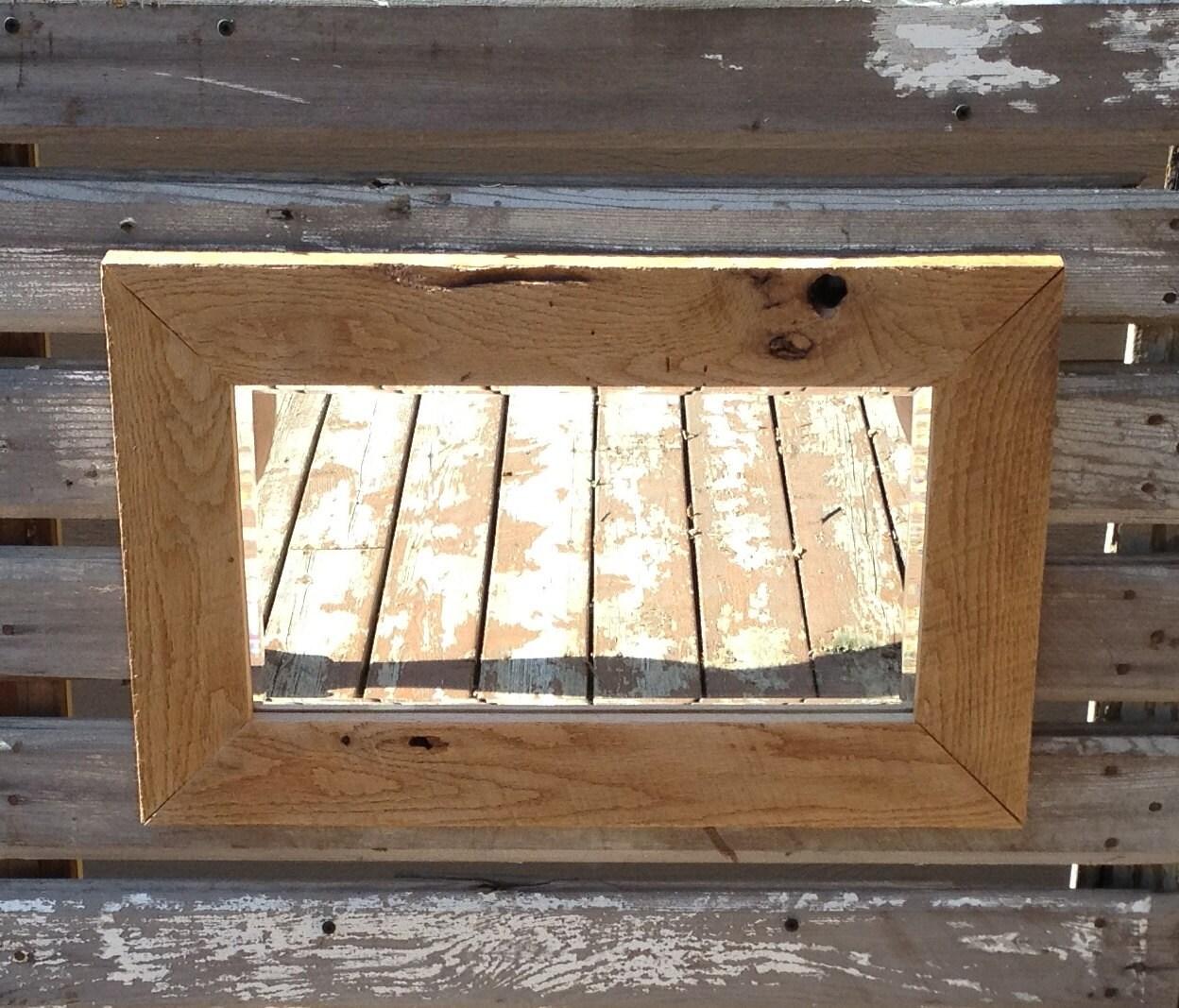 Rustic Light Industrial Chandelier Rope Pulley Yoke Wood Metal: Rustic Mirror Featuring Reclaimed Barn Wood Frame