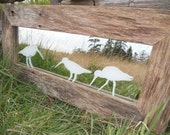 """Rustic weathered farm fence board """"Sandpipers on Lochside"""" country seaside cabin cottage mirror farmhouse"""