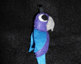 Purple and Blue Parrot Keychain