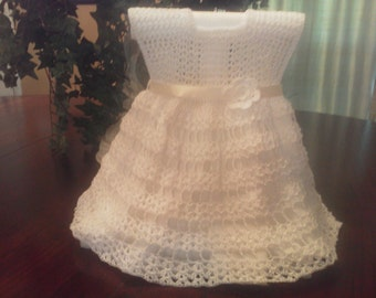 9-12 mo open stitch dress in white