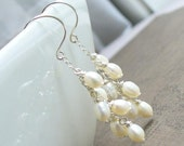Freshwater Pearls Cascading Earrings. Sterling Silver