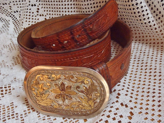 Vintage Tooled Boho Leather Belt with Belt Buckle - Gorgeous Detail