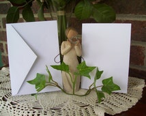 Blank A 1 White Note Cards with Envelopes 4 x 5 1/2  Qty 25 Greeting Cards/ RSVP/Thank You Cards / Wedding Cards/ Invitations Cards