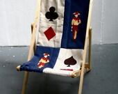 Joker Deck Chair Blue and White Applique Folding Timber Frame Bye Brytshi