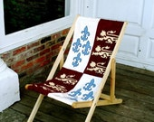 Edward III Banner Deck Chair fleur de lis rampant lion Recliner Folding Timber Frame Bye Brytshi