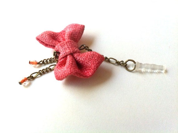 Chained Pink Linen Bow iPhone Headphone Plug/ Dust Plug - Cellphone Accessories