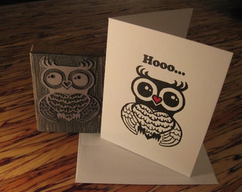 Linocut & Letterpress Valentine, Anniversary or Just Because - Hooo...loves you
