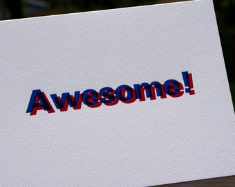 AWESOME - Letterpress Greeting Card