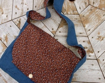 Extra Large Blue & Brown Calico Cross Body Messenger Bag