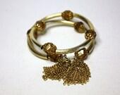 Vintage Topaz Crystal Wire Wrap Tassel Bracelet Hobe