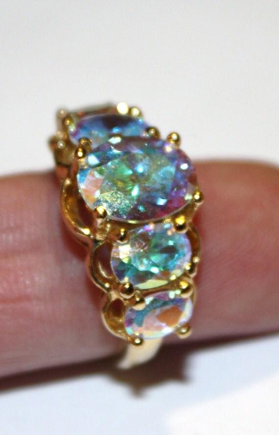 Vintage Sterling AB Crystal Ring