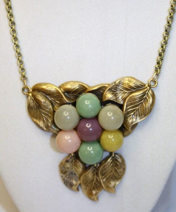Art Deco Necklace  Pastel Marble Bubble 1920s Jewelry
