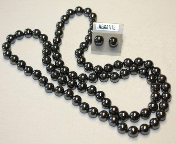 Vintage Necklace Hematite Bead  Earring Set
