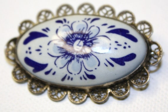 Vintage Brooch Delft Blue White Porcelain Sterling Filigree
