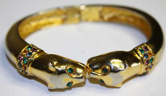 Vintage Rhinestone Cuff Panther Bracelet