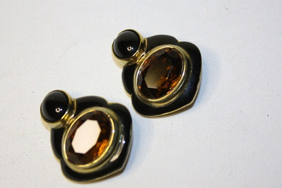 Vintage Black Enamel Topaz Earrings