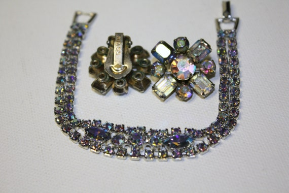 Vintage Weiss Rhinestone Bracelet Earring Set Blue AB 1950 Jewelry