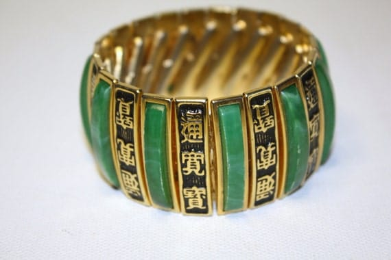 Vintage Asian Expansion Wide Bracelet Green Thermoset 1950s Jewelry