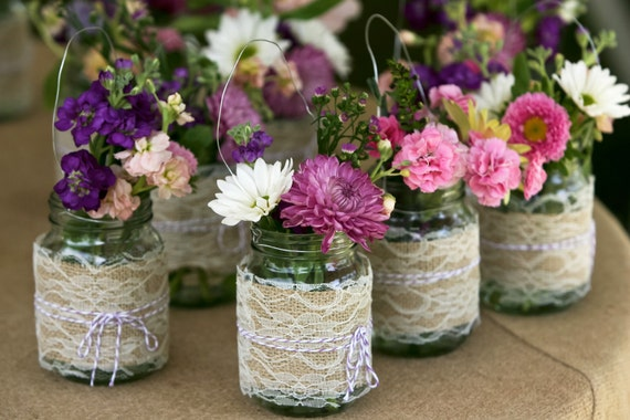 Set of 5 Burlap and Lace Hanging Mason Jar Wedding Decorations