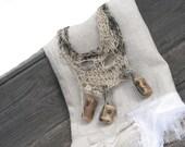 Linen Natural necklace - wooden beads - braided linen
