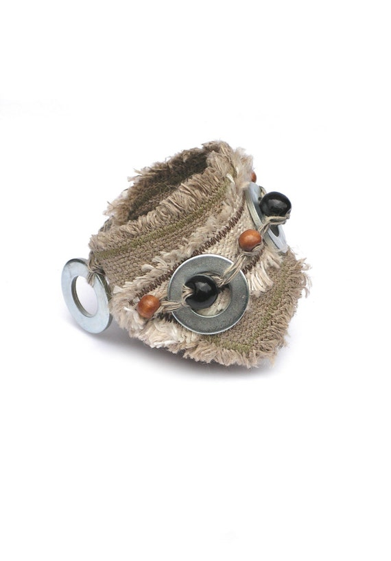 Linen frayed cuff  Natural Unique fashion textile cuff bracelet Wooden beads and metal wheels - natural gray beige black