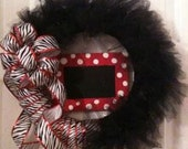 Personalized tulle zebra wreath