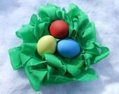 Easter Grass Reusable Easter Basket Decoration - Shredded Green Silk, Hand-dyed