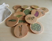 Matchmaker Wooden Coin Memory Game - Waldorf-inspired Natural Toy - Veggie Theme