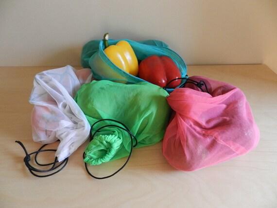 SET OF FOUR Reusable Produce Bags, Toy Bag, Drawstring Bag, Mesh Bag, Storage Bag