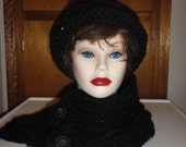 Cloche Hat and Beautiful Neck Warmer with buttons