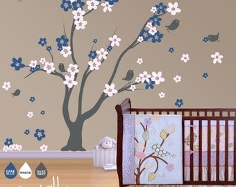"""Tree Wall Decal Wall Sticker - Nursery Wall Sticker - Blossom Tree Decal with Birds - Large: approx 70"""" x 80"""" (whole composition) - W001"""