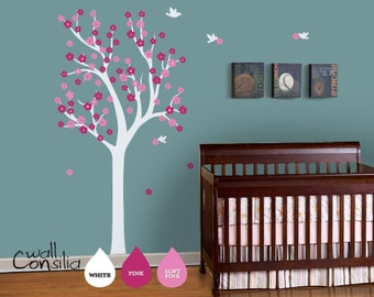 "Nursery Tree Wall Decal Wall Sticker - Tree Wall Decal - Tree Decals - Large: approx 75"" x 38"" - W030"