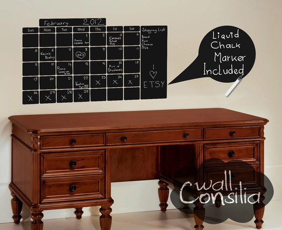 "Wall Calendar Decal - Chalk Pen Wall Decal - Chalkboard Decal, Size - 23"" x 39"", FREE Liquid Chalk Marker Included - W005"