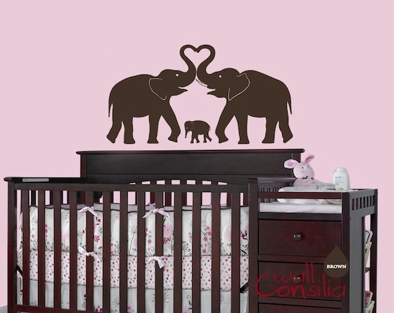 "Baby Nursery Wall Decal - Elephant Wall Decal - Elephant Heart Decal - Nursery Wall Sticker - Large: 24"" high and 42"" wide - W023"