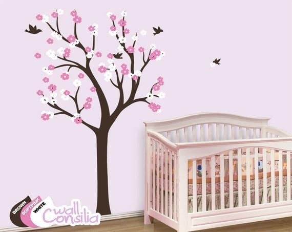 "Nursery Tree Wall Decal Wall Sticker Tree Wall Decal Tree Decals Large: approx 75"" x 38"" - W030"