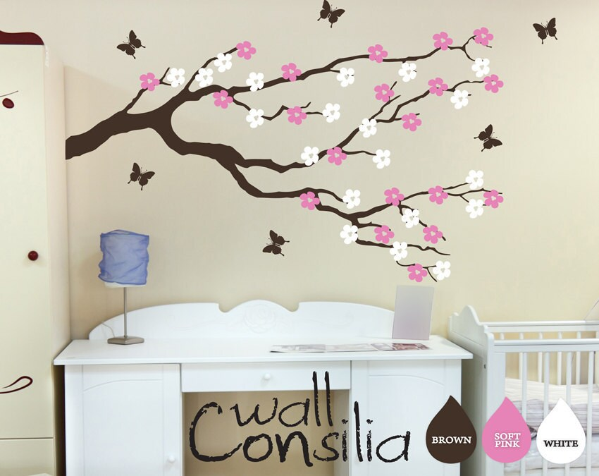 Custom designed large cherry blossom tree wall decal this wall decal - Nursery Blossom Branch With Butterflies Wall Decal Wall