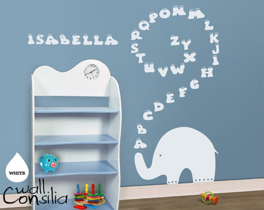 Baby nursery wall decal elephant wall decal elephant for Funny elephant wall decals for nursery