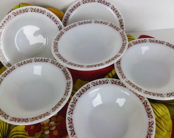 Anchor Hocking Anchorware Filigree Cafe Style Bowls Restaurantware Set of 6 Trending Vintage